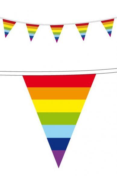 Vlaggenlijn 50 m Regenboog feestversiering