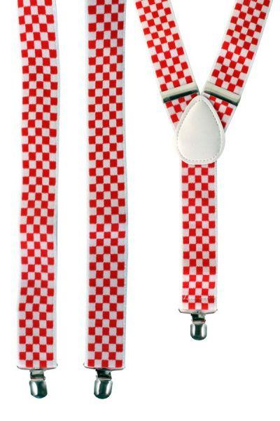 Brabantse Bretels rood wit geblokt