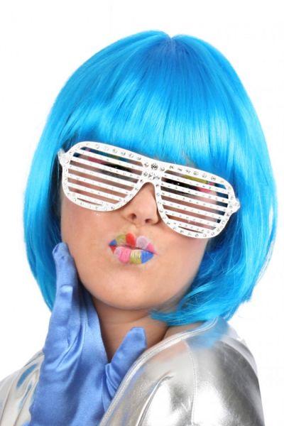 Damespruik trendy kort blauw
