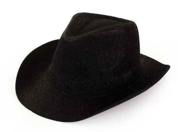 Cowboyhoed zwart glitter