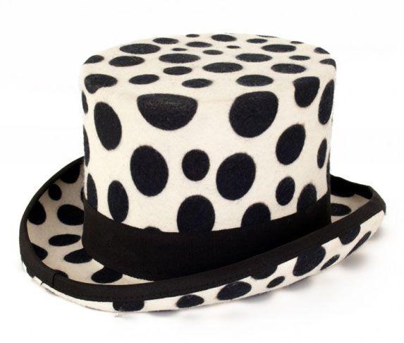 Witte cilinder hoed met zwarte bollen