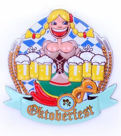 Oktoberfest Dirndl met bierpullen decoratie 6 stuks