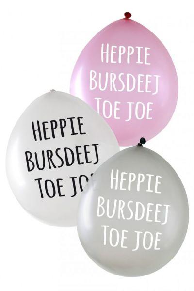 Metallic ballonnen Heppie Bursdeej per 24 stuks