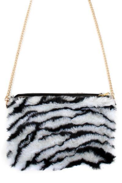 Zebra schoudertas plushe