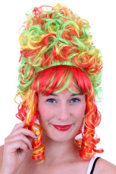 Hofdame pruik Rood Geel Groen Carnaval