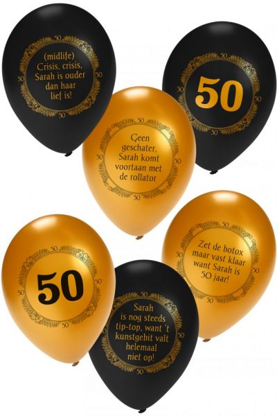 Helium ballon Sarah metallic zwart goud