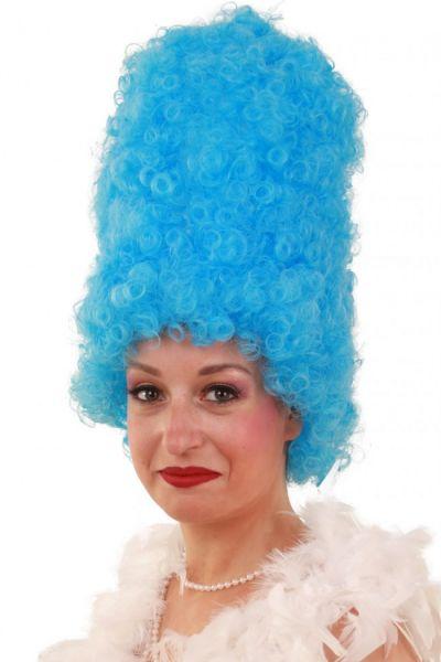 Grappige pruik Curly hoog blauw