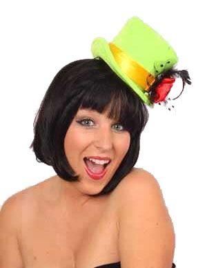 Mini hoge hoed dames fluor groen met roos