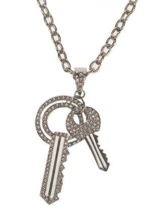 Halsketting met 2 sleutels Strass