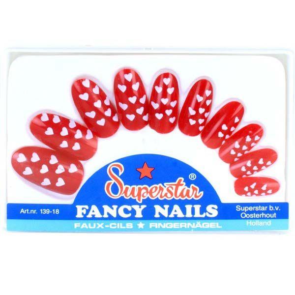 Nepnagels rood met witte hartjes valse nagels