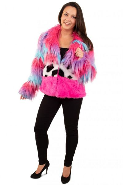 Bonte carnavalsjas kleuren mix lang haar damesjas