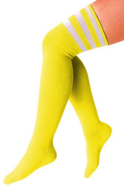 Lange kniekousen geel met 3 witte strepen
