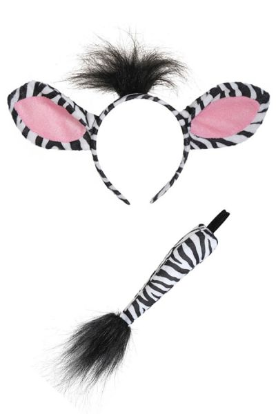 Zebra haarbeugel met staart