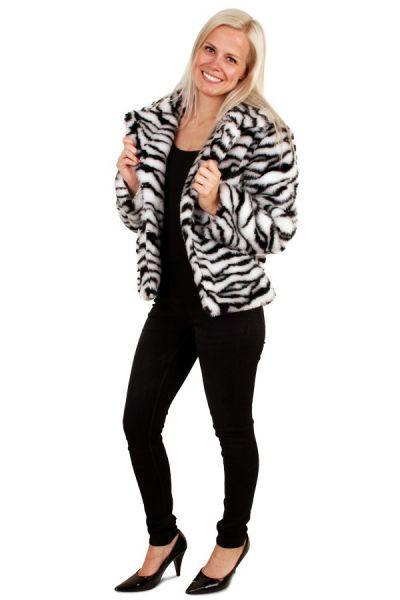 Korte carnavalsjas zebraprint bontjas witte tijger