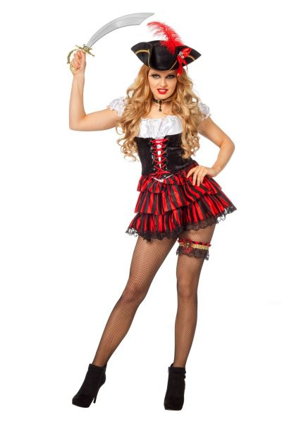 Carnavalskleding Sexy Pirate zwart met rood