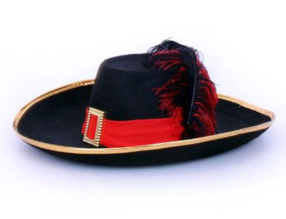 Musketier hoed zwart met rode met band en veer