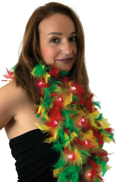 Boa rood geel groen Carnaval met lichtjes
