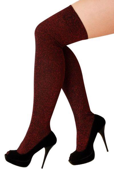 Stay-up kousen lurex rood