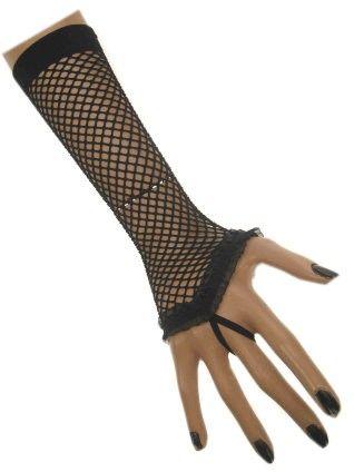 Zwarte net handschoen met kanten rouge