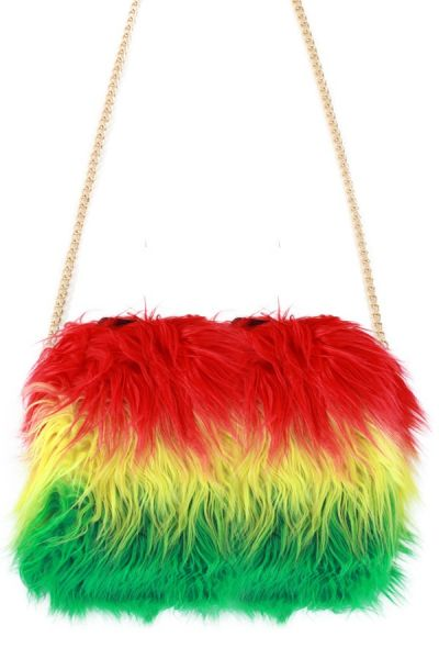 Carnavals-Tas rood geel groen lang pluche