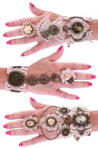 3 Steampunk armbanden kant met ring