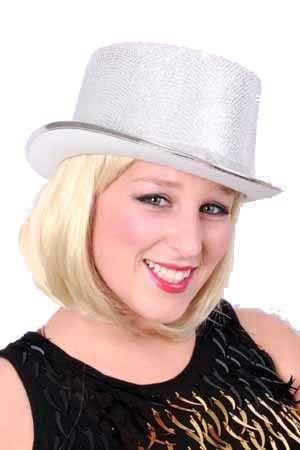Hoge hoed lurex glitter zilver