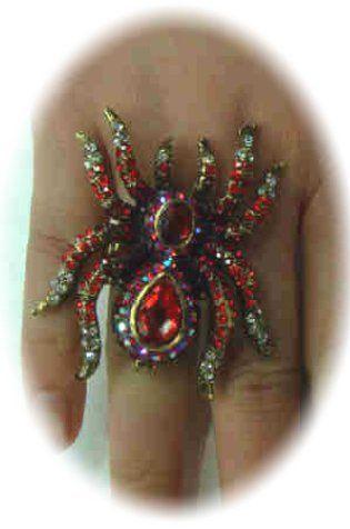 Luxe ring met rode spin verstelbaar