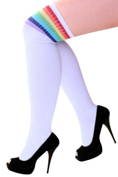 Lieskousen wit met regenboog strepen