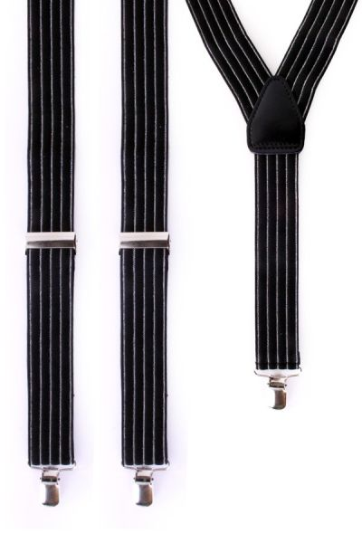 Gangster bretels zwart met grijze streep
