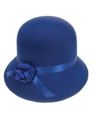 Dameshoedje bol met roosje neon blauw