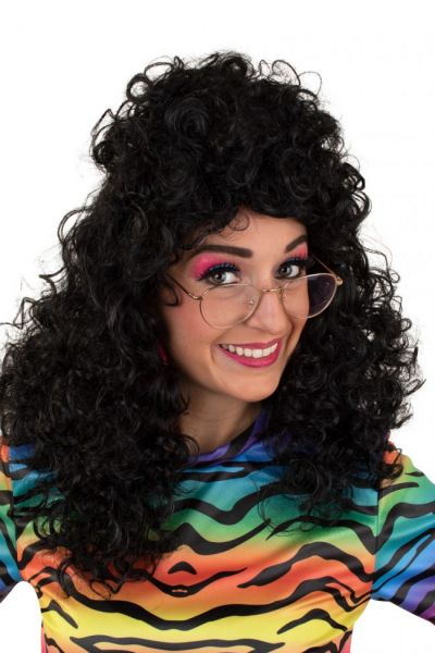 Pruik lang krullend zwart haar