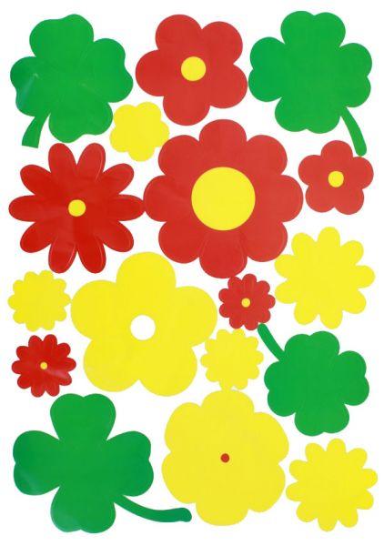 Raamsticker bloemen rood geel groen