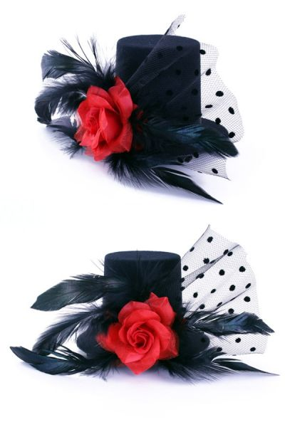 3 Mini hoedjes zwart met roos
