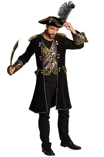 Piraten carnavalsjas zwart brokaat heren