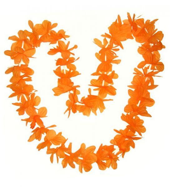 Hawaii halsketting oranje kransen 12 stuks
