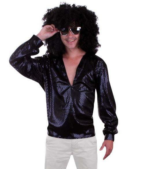 70s 80s Glitter disco blouse zwart pailletten